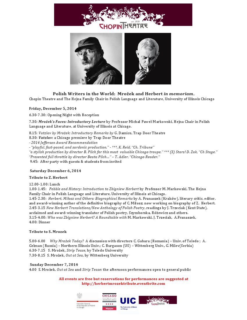 Flyer - Tribute to Mrozek and Herbert at Chopin Theatre Dec 5-7 2014