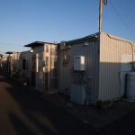 """Temporary Housing Units"", Yamamoto, Miyagi, October 24, 2014: 150 families live in this temporary housing complex. Some are fisherman, some are farmers, most are elderly. Space is extremely limited and privacy is hard to come by."