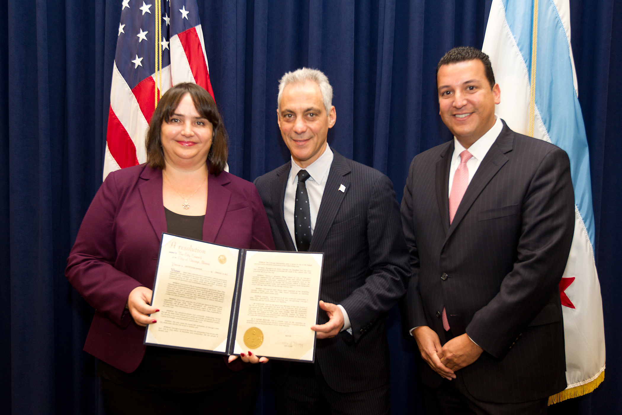 Kyiv, Ukraine Sister City Anniversary Resolution: The Honorable Larysa Gerasko, Consul General of Ukraine; Chicago Mayor Rahm Emanuel; and Leroy Allala, Executive Director of Chicago Sister Cities International. Photo by Brooke Collins, City of Chicago.