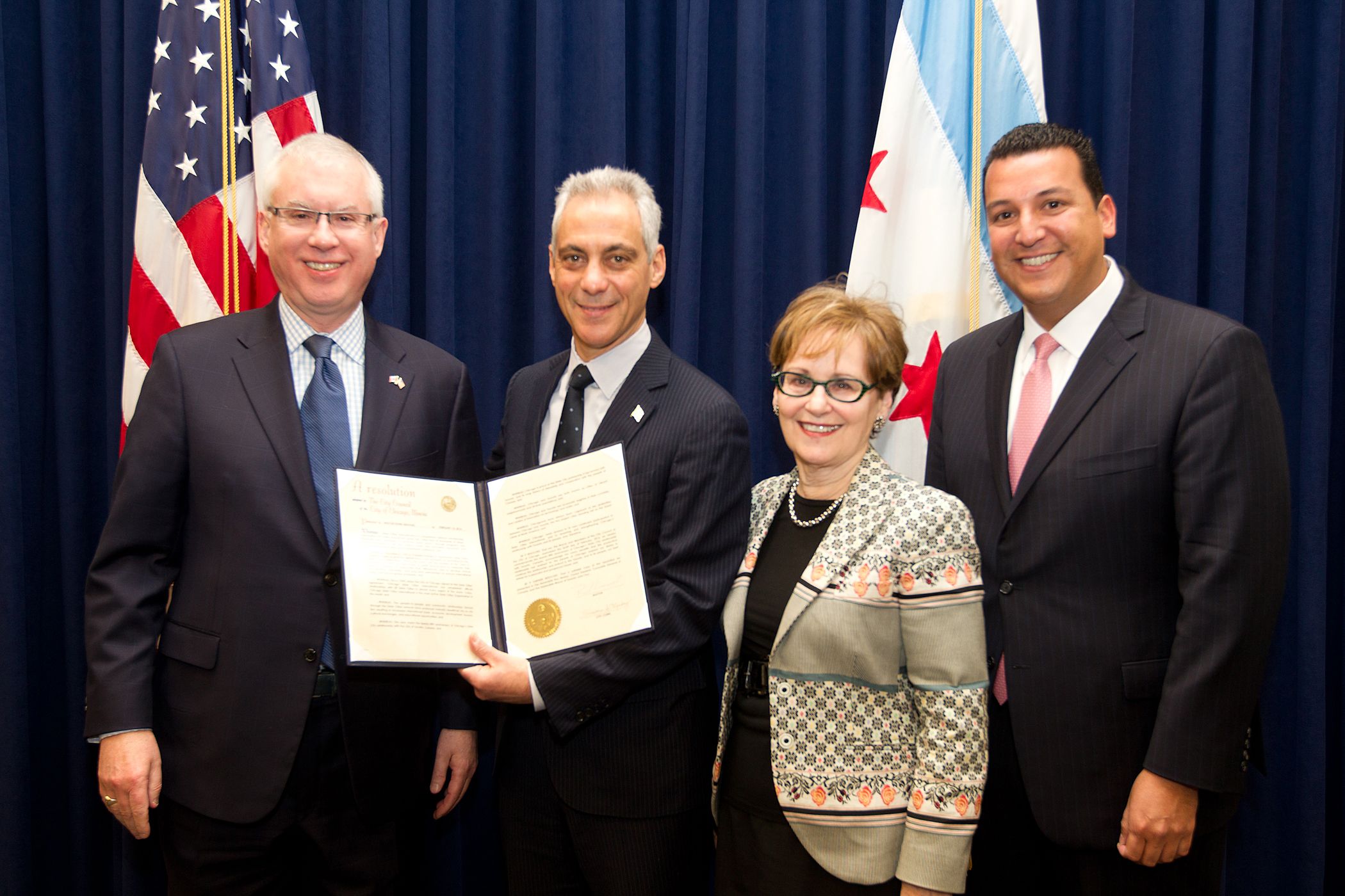 Toronto Sister City Anniversary Resolution: The Honorable Roy Norton, Consul General of Canada; Chicago Mayor Rahm Emanuel; Linda Loving, Chair of the Toronto Committee of Chicago Sister Cities International; and Leroy Allala, Executive Director of Chicago Sister Cities International. Photo by Brooke Collins, City of Chicago.