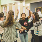 The girls participate in getting-to-know-you games with Urban Initiatives.