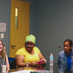 Orla Mc Breen, Consul General of Ireland to the US Midwest, and Vuyiswa Tulelo, Consul General of South Africa in Chicago, speak to the girls.