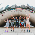 Andrea Catalina Pedraza of Bogota, Renee Surya Jagdeo of Toronto, Prabidhi Pandey of Toronto, Abiola Salimon of Chicago and Ella Johnson of Chicago at Cloud Gate in Millennium Park.