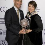 Mayor Rahm Emanuel with Patricia Woertz, the 2016 Chicago Consular Corp Global Citizen awardee