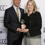 Mayor Rahm Emanuel with Jaime Miller representing General Electric, the 2016 Corporate Ambassador awardee