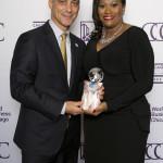 "Mayor Rahm Emanuel with Sherlaender ""Lani"" Phillips representing Microsoft, the 2016 ChicagoNEXT awardee"