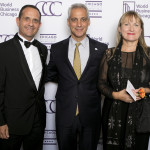 Mayor Rahm Emanuel and Consul General of the French Republic Vincent Floreani and Christine Floreani