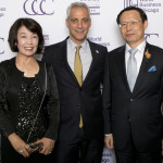 Mayor Rahm Emanuel and Consul General of the Republic of Korea Jong-Kook Lee (right) and Hee Yung Song